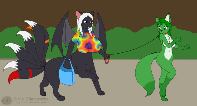 Commission: Mona walking Alexis by Sin-R