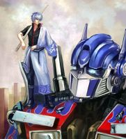 Gintoki and Optimus by velveteen2006