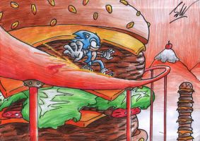 Sonic Colours -  Giant Burger by Jakeiiii