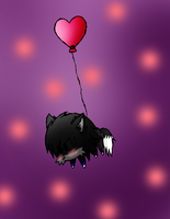 the chibi wolf and the balloon x3 by Dess-KunPS