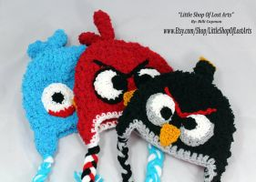 Angry Birds inspired crochet hats in fleece by LittleShopOfLostArts