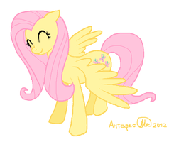 Fluttershy with paint and mouse by AntharesMK