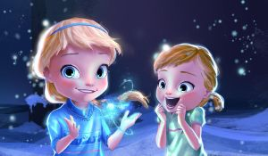 Little Elsa and Anna by DreamMakerx