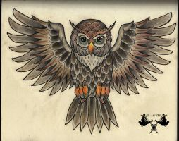 tattoo-sketch owl by Tausend-Nadeln