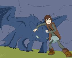 Hiccup and toothless by ArchXAngel20