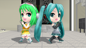 MMD -  Nendoroid Miku and GUMI by emmystar