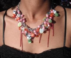 Orange and Pink Beaded Chain Necklace 4 by TheFuzzyPineapple