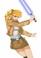 Jedi with a lightsabre by FrannyBunny