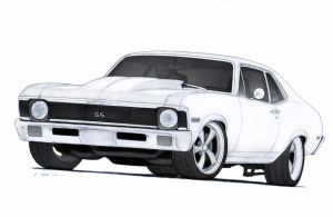 1972 Chevrolet Nova SS Pro Touring Drawing by Vertualissimo