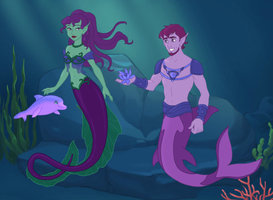 Zelena the Water Naga and Roxo the MerOrca by SassyDragon18