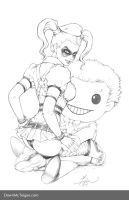 Arkham Asylum Harley w/ Joker Plush - Pencils by Dawn-McTeigue