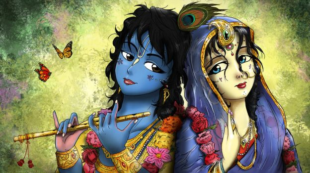 Radha Krishna colored by flow692