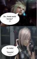 Cloud strife and Lightning talking at phone by Sieghartelsy