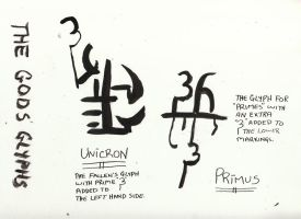 Primus and Unicron Glyphs by Vampiric-Conure