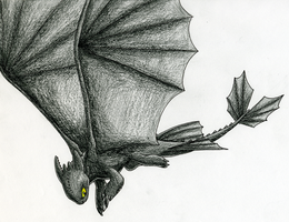 Toothless Flying by CavySpirit