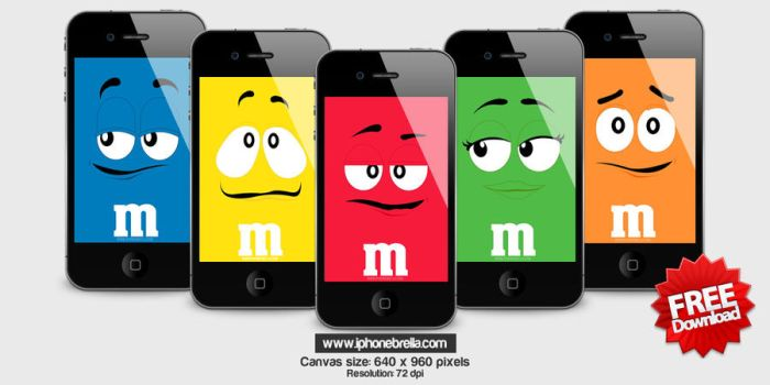 M and M chocolate iphone walls by Lemongraphic
