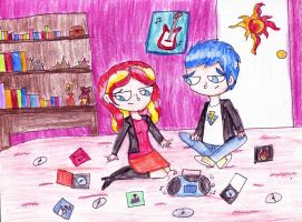 sunset shimmer and flash sentry - Old CDs by mexicangirl12