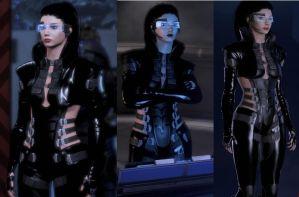 Shiny Leather Black Aria Outfit by charming-mushroom
