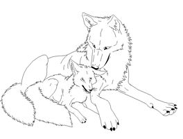wolf and fox lineart by ShifterDreams