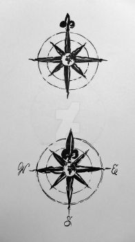 Antique Compass Tattoos (Commission) by Blackstar by 814CK5T4R