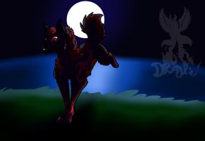 Red wolf in the dark by drajk