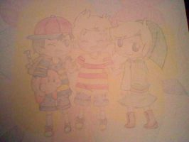 SSBB : Ness, Kirby, Toon Link and Lucas by EBN64