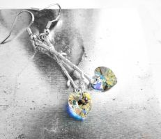 AB Heart Crystal Silver Bamboo Dangle Earrings by crystaland