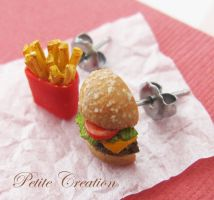 hamburger and fries earrings 1 by PetiteCreation