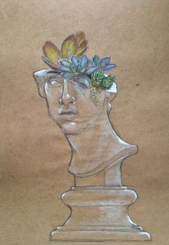 Apollo head with succulents by Legallydead