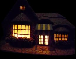Lighted ceramic cottage by Star-Grace
