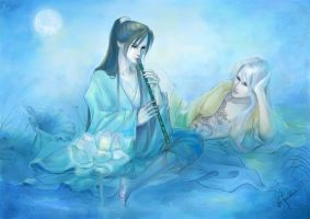 Moon and Oriental Bamboo Flute by xiuyuan