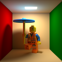 Emmet Lego man render cornell box by SupeRobotLazerTiger