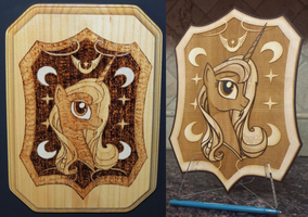 Wood Burning - Hand vs Laser (Earth-Pony Colab) by rekibob