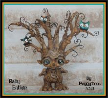 2014 OOAK Baby Entling  With Nesting Owls by peggytoes