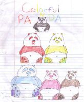 colorful pandas by wasabieater