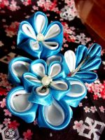 Blue Kanzashi by SilverPhoenixVN