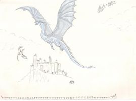 Saphira and another big dragon over Aberon by EloiseS16