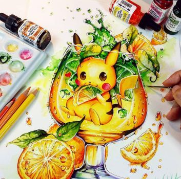 Fresh Lemon Pikachu by Naschi