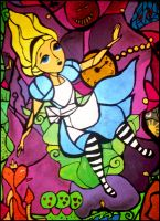 Alice falling Wonderland on canvas as Acrylpaint by pa-he