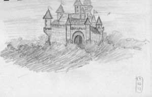 Sketch-a-Day 29-06-13: Castle in the Woods by ThroughMyThoughts