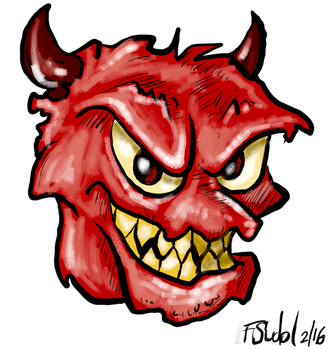 Red Face With Horns by FSudol