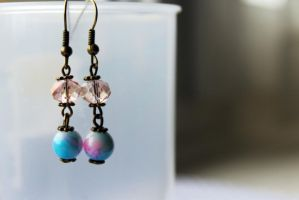 Pinky, Peachy and Blue Antique Unique Earrings by Clerdy