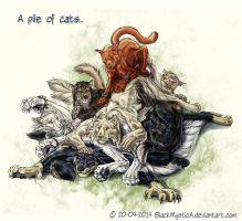 A pile of cats... by BlackMysticA