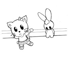 lineart: kitty and bunny by SsIGeS7