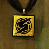 Gold Metroid Fused Glass by FusedElegance