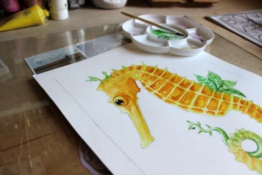 leafy seahorse by kaesel