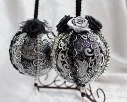 Matching Black and Silver Brocade Ornaments by DaraGallery