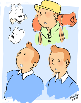 Tintin and Snowy by Meadowi