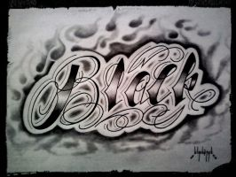 TATTOO LETTERING BLACK (first part of my name) by 814CK5T4R