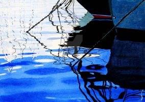 Boats Chains and Anchors Watercolour by thelastcelt